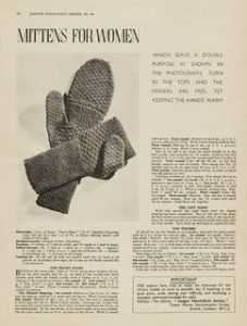 1940s knitted mitten pattern from the Victoria and Albert Museum